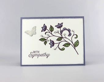 Handmade Sympathy Card - Sympathy Card -  Hand Stamped Sympathy Card - Praying for You Card - Stampin' Up! Flower Flourish Card