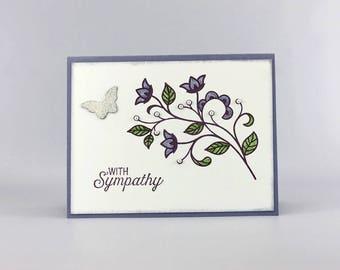 Handmade Sympathy Card - Sympathy Card -  Hand Stamped Sympathy Card - Praying for You Card - Stampin' Up! Flower Flourish Card