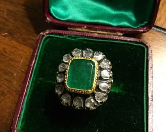 Georgian Emerald and Rose Cut Diamond Statement Ring
