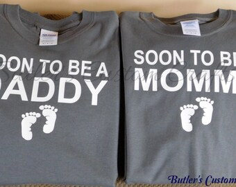 Soon to be a Mommy tshirt. Soon to be a Daddy tshirt. Expecting baby tshirt. New parent gift. Shirts for parents. Gift for expecting parents