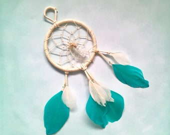 Teal and Crystals, Dream Catcher, organic Lavender oil, Herkimer Crystals, Dream Catcher, Gold Painted, essential oil, Herkimer Diamonds