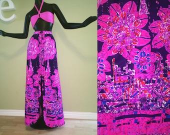 Slit Ruffle Front Maxi Skirt Vintage 1960s Hawaiian Pink Purple Batik Tiki Print Swimsuit Cover Up MOD 60s Retro Beach Wedding Dress Medium