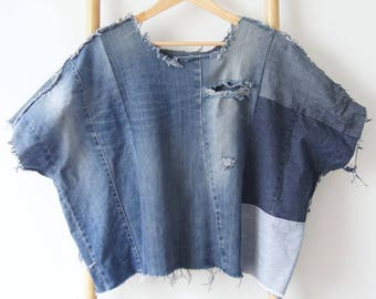 Raw denim batwing crop top