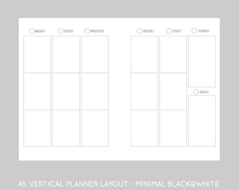 A5 vertical minimal inserts - printables for A5 planners