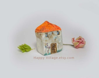 Italian Orange Roof Spring tiny clay house,miniature house,tiny clay house,small house,tiny ceramic house,fairy house,home decor