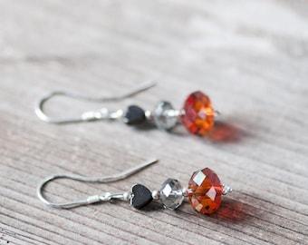 Cute Dangle Earrings Crystal Earrings Swarovski Earrings Autumn Jewelry Heart Earrings Gift for Her Birthday Gift for Friend Fall Earrings