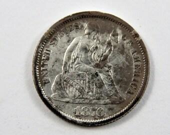 U.S. 1876 Seated Liberty Dime Coin.