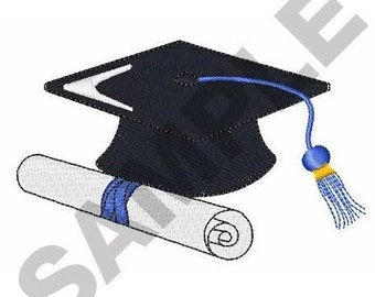 Graduation Cap And Diploma - Machine Embroidery Design