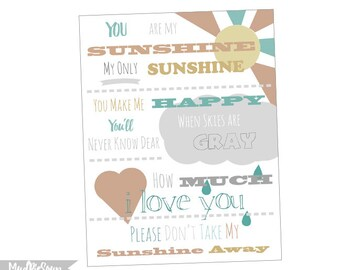 You Are My Sunshine Poster - Typography Printable Nursery Decor | Digital Print Sunshine Poster Wall Decoration