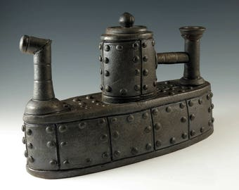 Steampunk Decor, Handmade Teapot, Ceramic Teapot, Industrial Metal Series, Functional Ceramics,  Steampunk Wedding, Battleship Teapot, MS107
