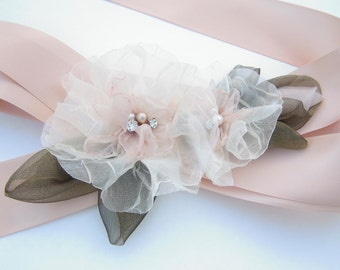 Blush Wedding Dress Sash Belt, Floral Bridal Sash with Blush and Ivory Organza Flowers, Moss Green Leaves, Rhinestones and Pearls-BB0076