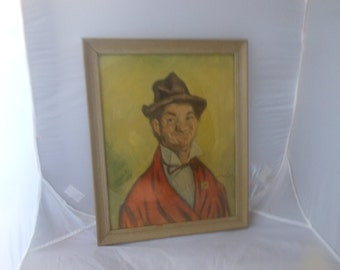 Vintage Hobo clown print,framed and possibly signed, olive green background, fair condition, framed behind glass, 16 x 13 dimensions outside