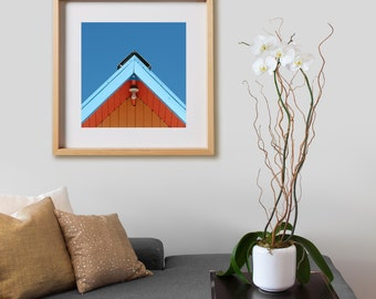 Beach House Print.  Nautical photography, coastal, beach house, blue ,orange, decor, wall art, artwork, large format photo.