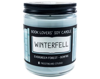 Winterfell - 8 oz Book Lovers' Soy Candle - Book Candle -  Book Lover Gift - Scented Soy Candle - Frostbeard Studio