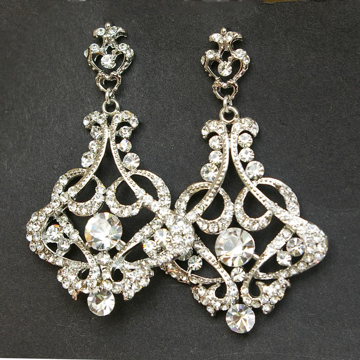Crystal chandelier bridal earrings vintage wedding earrings zoom arubaitofo Images