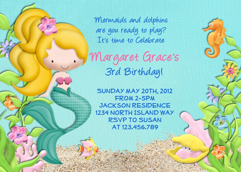 Mermaid Birthday Party Invitation Under the Sea Birthday
