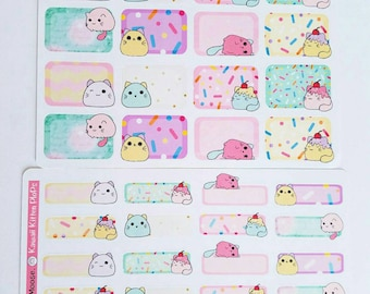 Kawaii Kitty Plops~ Hand Drawn Half & Quarter Box Stickers for EC Vertical + Hardbound Planners