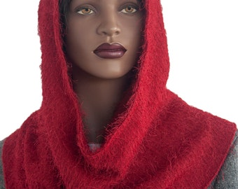 Cowl Hoodie Red Shag Knit Hijab Women's Hoodie Handmade