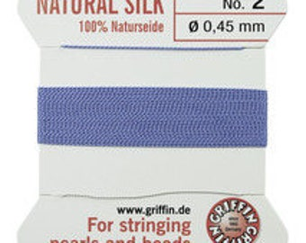 Blue Griffin No. 2 Natural Silk, Silk For Stringing Pearls And Beads, Silk Beading Cord with Attached Needle, Size 2