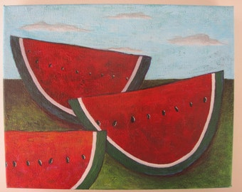 Watermelon Painting - acrylic, red, green