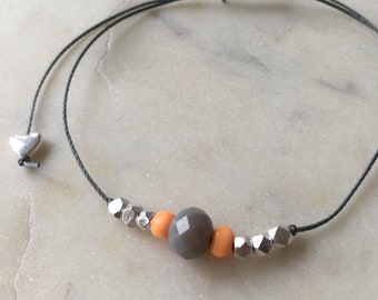 Grey faceted glass bead & silver minimal bracelet • grey cord • Hoxton range • dainty •colourful • fully adjustable