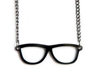 Black Geek Glasses Necklace
