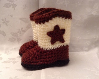 Ready to Ship Brown and Off white Crochet baby cowboy booties 0 to 3 month boots Infant Booties