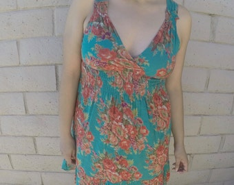Teal Cotton Dress w/ Flowers