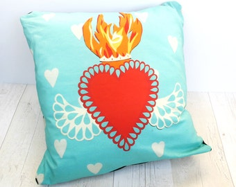 Sacred Heart Pillow Cover -  Love Heart Cushion - Anniversary Gift - Flaming Heart Pillow - Mexican Home Decor - Turquoise Cushion