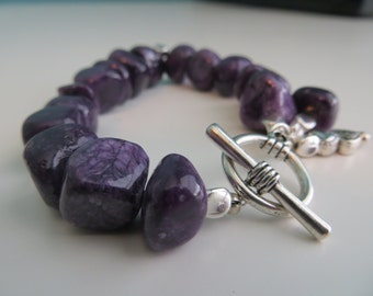 Chunky Purple Stone Beaded Bracelet with Silver Clasp