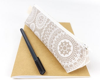 Modern Pencil Pouch Desk Accessory Small Pencil Case in Linen Fabric Zipper Pouch Brush Holder Gift for Her
