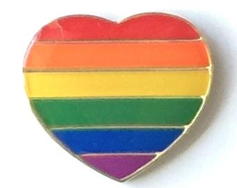 Rainbow LGBT Gay Pride Love Heart Pin Badge - GOLD plated