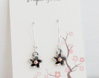 Plumeria Silver Flower Dangle Earrings, Beach Jewelry, Hawaiian Frangipani Flower, Tropical Flowers
