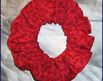 Patriotic Hair Scrunchie, Patriotic Hair Tie, Red, Ponytail Holder, USA American Pride (Red)