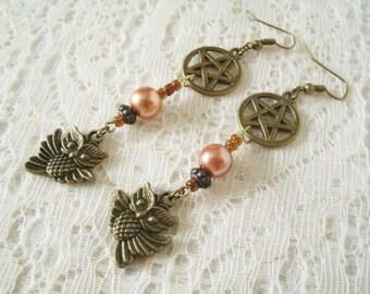 Goddess Athena Owl Pentacle Earrings, wiccan jewelry pagan jewelry wicca jewelry witch witchcraft pentagram pagan earrings wiccan earrings