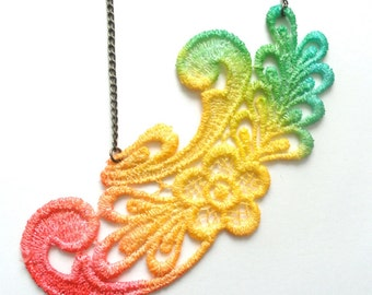 Hand Dyed Lace in Jamaican Colors with Antiqued Bronze Chain