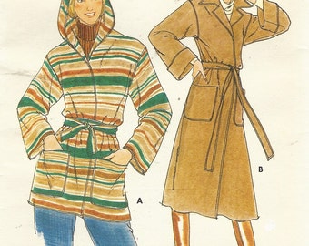 1970s Womens Wrap Coat 2 Lengths With or Without Hood Butterick Sewing Pattern 5658 Size 18 Bust 40 Vintage Sewing Patterns