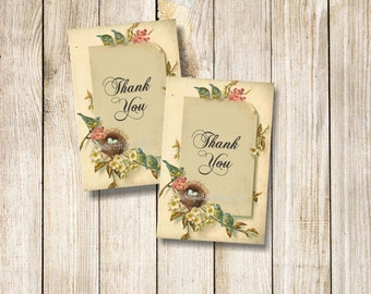 Thank You Favor Tags, Bird Favor Tags Tags, Baby Shower Favor Tags, Bridal Shower Thank You Tags, Bird and Nest Tags, Instant Download