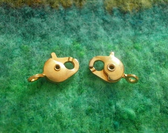 1 pc Gold Lobster Claw Clasp 13 x 6mm Gold Plated Brass Claw Hook Clasp Gold Lobster Claw Clasp