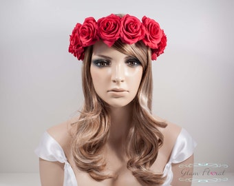 Red Rose Flower Crown. Real Touch red roses. Dirndl Flowercrown