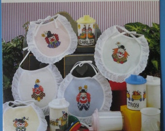 Counted Cross stitch Pattern Baby Bibs Dinnertime Clowns New never used
