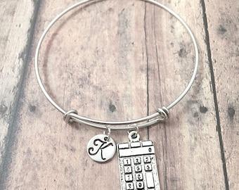 Calculator initial bangle - calculator jewelry, math bracelet, accountant jewelry, math teacher gift, silver calculator pendant, math bangle