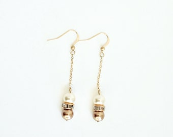 Gold Sparkle Earrings - Pearl Dangle Earrings - Elegant Earrings