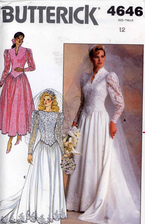 ON HOLD 80s Wedding dress Bridesmaid dress Romantic vintage sewing ...