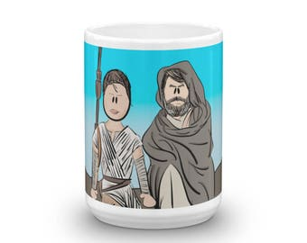Rey, Luke Skywalker, Star Wars the Last Jedi Character Coffee Mug