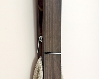 "12"" Jumbo Rustic Clothespin, Extra Large Clothespin, Towel Holder, Bathroom Decor, Child's Art Holder"
