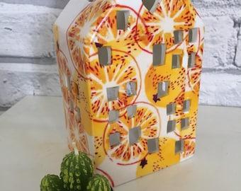 Handmade Emma Bridgewater orange marmalade ceramic tealight house