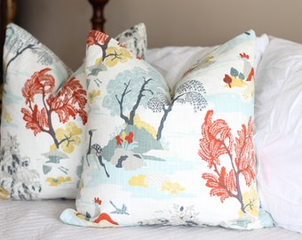 dwell studio modern toile // deer print // neutral pillow covers // persimmon decor // floral prints // chinoiserie pillow