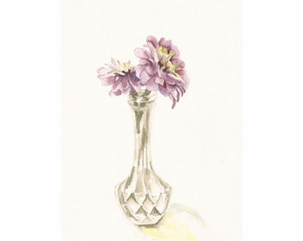 "Zinnias in a Crystal Vase, Print of Watercolor, 8"" x 11"""
