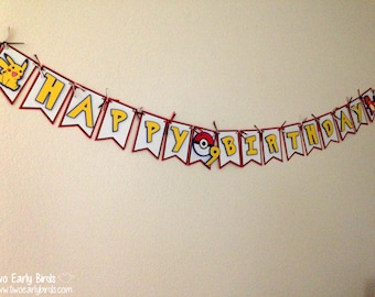 "Pokemon-Inspired ""Happy Birthday"" Banner"